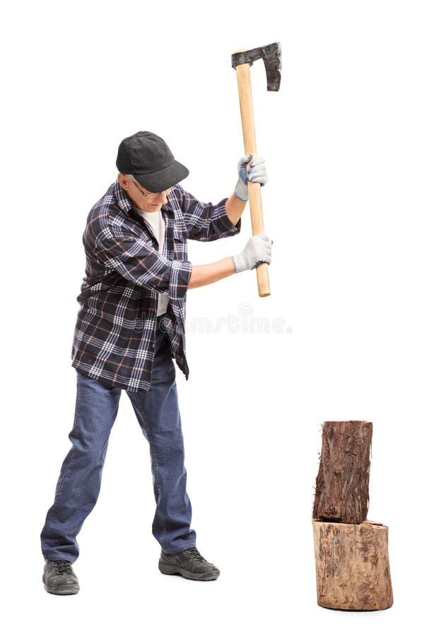 Ανώτερο χωρίζοντας ξύλο ατόμων με ένα τσεκούρι χεριών στοκ φωτογραφία
