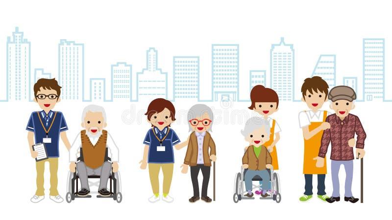 Ανώτερο Caregiver και ηλικιωμένο υπόβαθρο εικονικής παράστασης πόλης προσώπων ελεύθερη απεικόνιση δικαιώματος