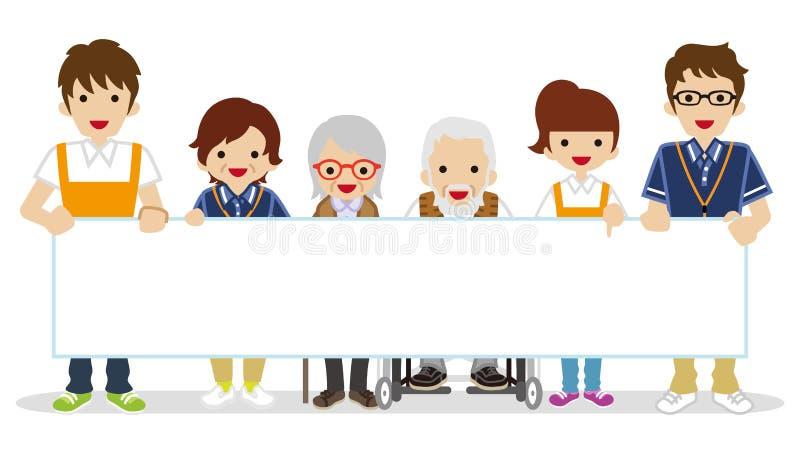 Ανώτερο Caregiver που κρατά μια κενή αφίσσα διανυσματική απεικόνιση
