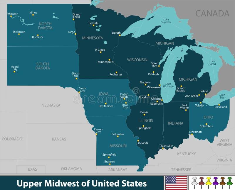 Ανώτερο Midwest των Ηνωμένων Πολιτειών απεικόνιση αποθεμάτων
