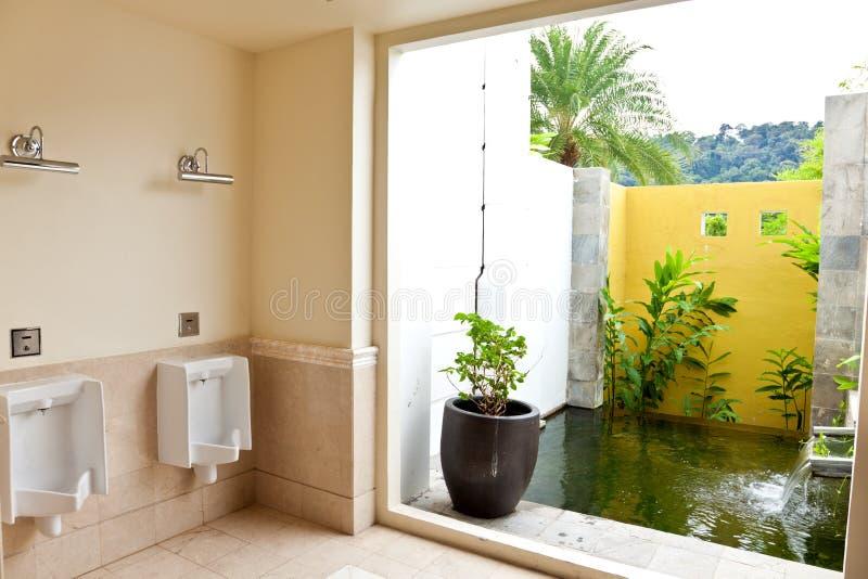Ανδρική τουαλέτα με το χαρακτηριστικό γνώρισμα νερού στοκ φωτογραφία με δικαίωμα ελεύθερης χρήσης
