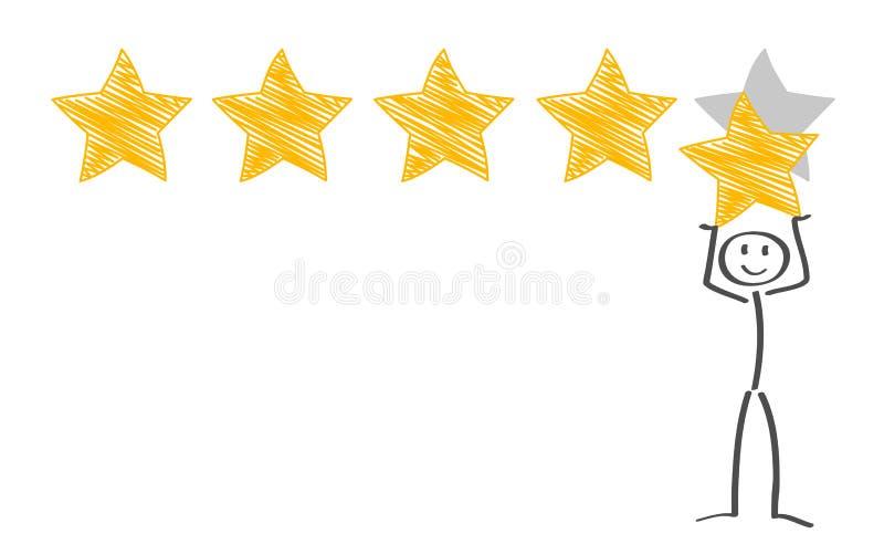 Αξιολόγηση με αστέρια Θετικές κριτικές πελατών Επιχειρηματίας με χρυσό αστέρι στο χέρι, για να δώσει πέντε αστέρια, ιδέα ανατροφο ελεύθερη απεικόνιση δικαιώματος