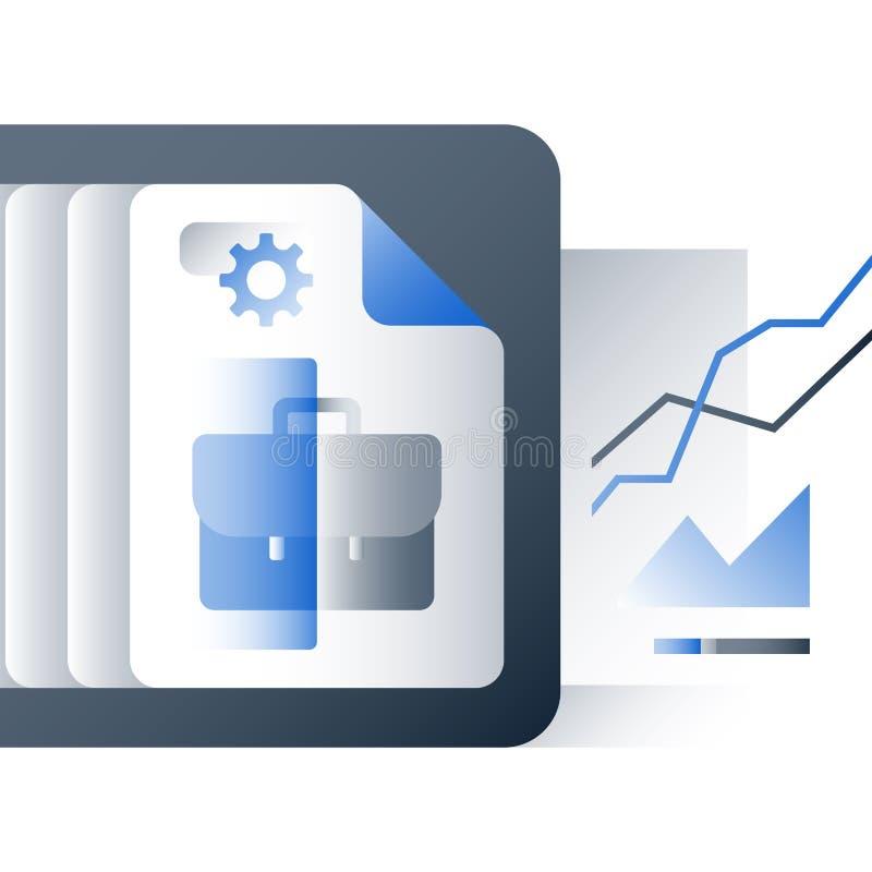 Αξιολόγηση της αξίας, έκθεση απόδοσης χαρτοφυλακίων επένδυσης, επιχειρησιακό εκπαιδευτικό μάθημα, διαχείριση επιχείρησης διανυσματική απεικόνιση