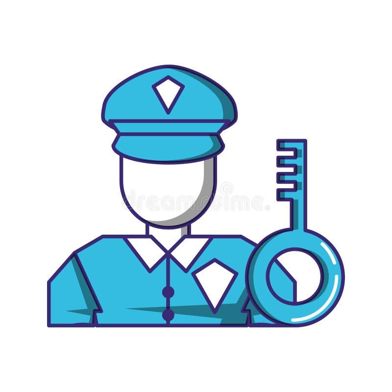 Αξιωματούχος ασφαλείας με τη βασική πόρτα ελεύθερη απεικόνιση δικαιώματος