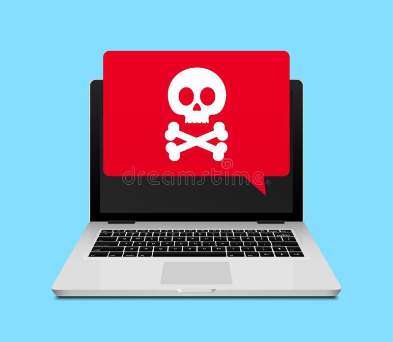 Απάτη ή spam ανακοίνωση ιών lap-top υπολογιστών Άγρυπνο εικονίδιο ιών Διαδικτύου σε απευθείας σύνδεση απεικόνιση αποθεμάτων