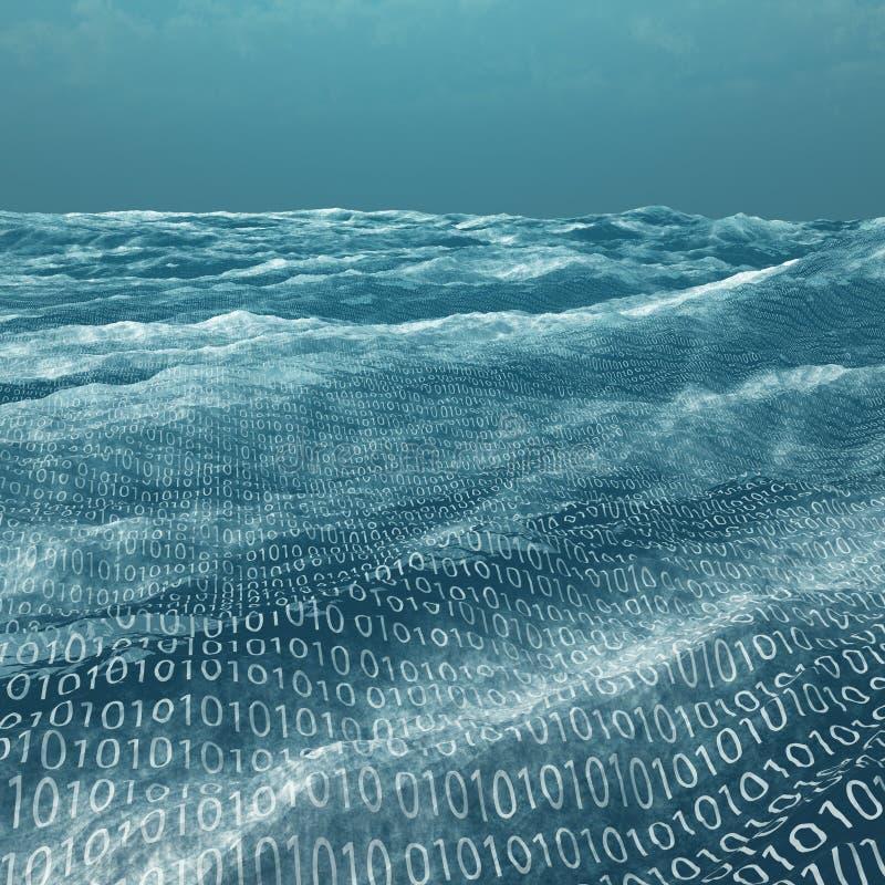 Απέραντη θάλασσα δυαδικού κώδικα απεικόνιση αποθεμάτων