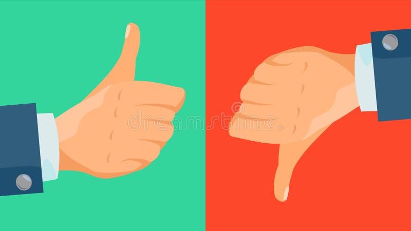 Απέχθεια και όπως το διάνυσμα εικονιδίων Αντίχειρες επάνω, αντίχειρες κάτω από τα επιχειρησιακά χέρια Κοινωνικό σύμβολο Ιστού δικ απεικόνιση αποθεμάτων