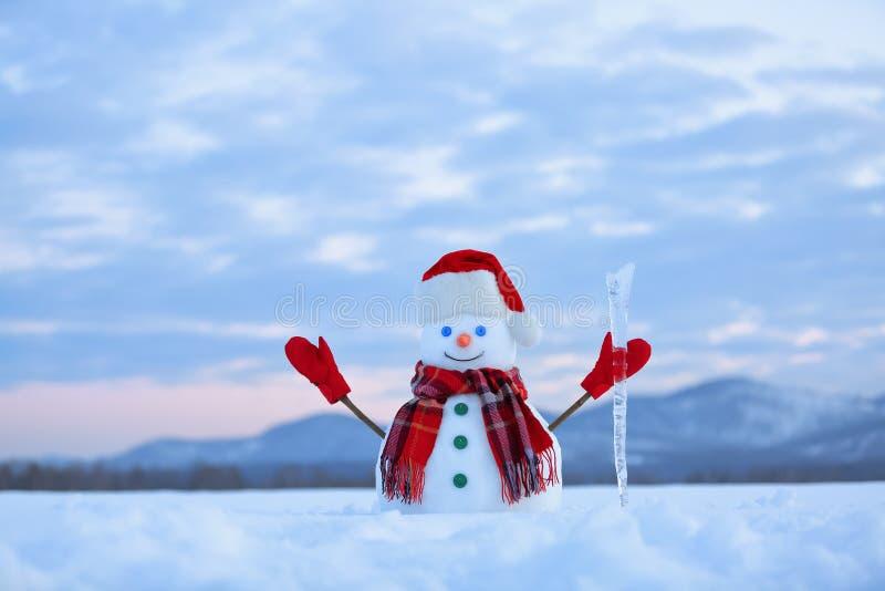 Απίστευτη ανατολή Ο ευτυχής χιονάνθρωπος στο καπέλο, μαντίλι, κόκκινα γάντια με τον πάγο pikestaff στέκεται στο χορτοτάπητα χιονι στοκ εικόνα