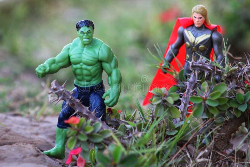 Απίστευτοι hulk & βασιλιάς της τοποθέτησης Asgard Thor στοκ εικόνες