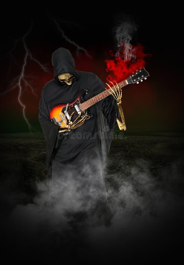 Απαίσια ηλεκτρική κιθάρα παιχνιδιού θεριστών απεικόνιση αποθεμάτων
