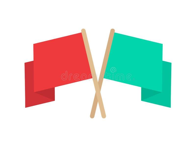 απαγορευμένα σημαία Κόκκινη και τυρκουάζ σημαία Διανυσματική απεικόνιση που απομονώνεται στην άσπρη ανασκόπηση διανυσματική απεικόνιση
