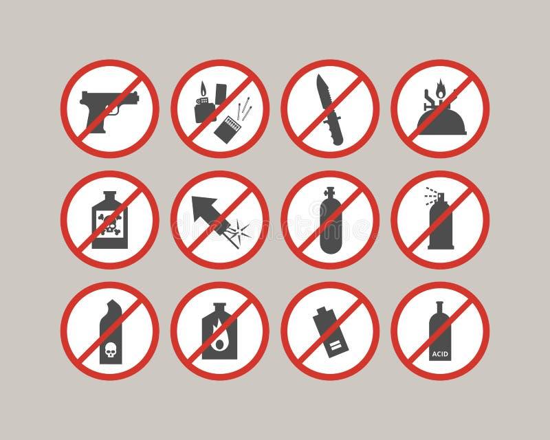 Απαγορευμένα στοιχεία αποσκευών Περιορισμοί αερολιμένων Επικίνδυνη ουσία για το αεροπλάνο απεικόνιση αποθεμάτων
