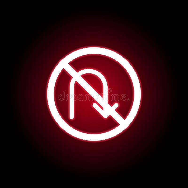 Απαγορευμένη στροφή πίσω εικονίδιο στο κόκκινο ύφος νέου r ελεύθερη απεικόνιση δικαιώματος
