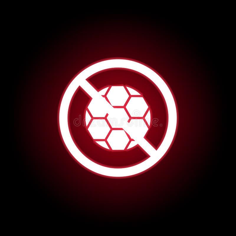 Απαγορευμένη σφαίρα, παίζοντας εικονίδιο στο κόκκινο ύφος νέου r διανυσματική απεικόνιση