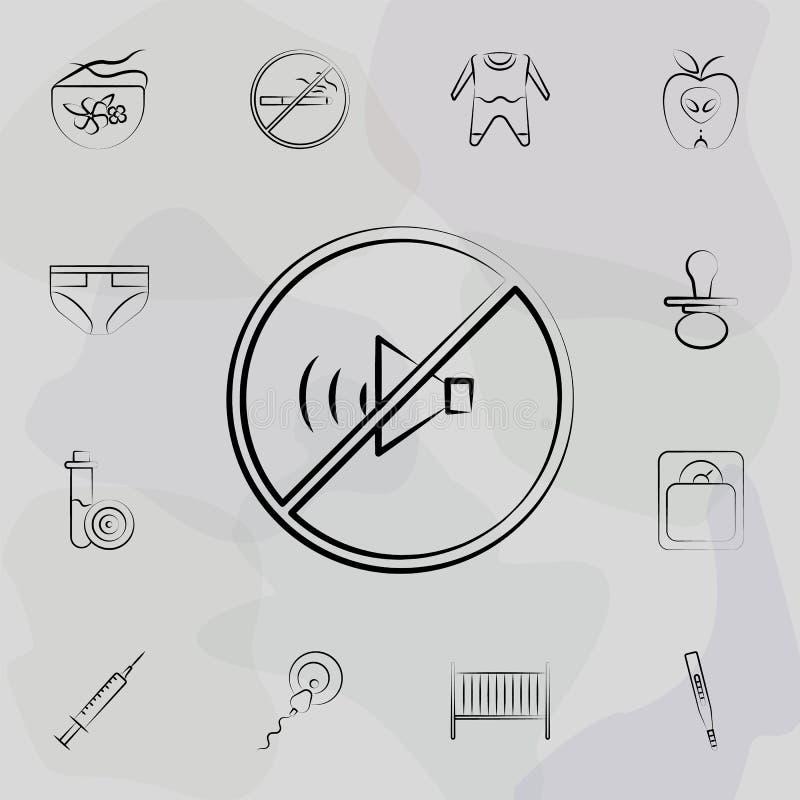 Απαγορευμένος ήχος, χωρίς εικονίδιο γραμμής έννοιας ήχου Καθολικό σύνολο μητρότητας για σχεδίαση και ανάπτυξη ιστοσελίδων, ανάπτυ ελεύθερη απεικόνιση δικαιώματος