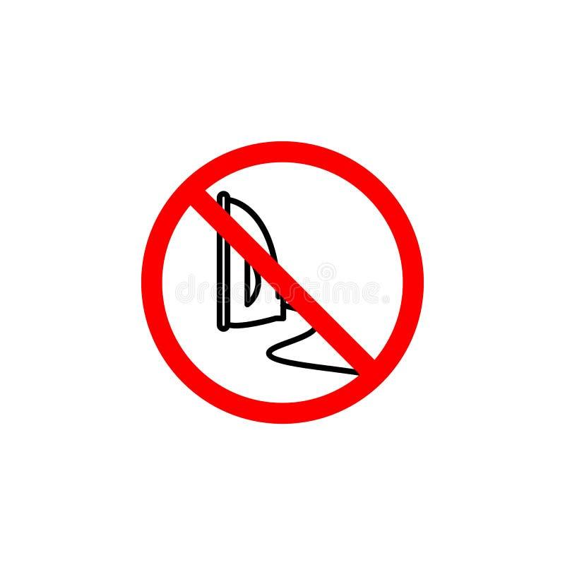 Απαγορευμένος για να σιδερωθεί το εικονίδιο στο άσπρο υπόβαθρο μπορεί να χρησιμοποιηθεί για τον Ιστό, λογότυπο, κινητό app, UI UX απεικόνιση αποθεμάτων
