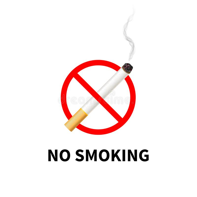 Απαγορευμένο απαγόρευση του καπνίσματος σημάδι, ρεαλιστικό τσιγάρο με τον καπνό στο λευκό απεικόνιση αποθεμάτων