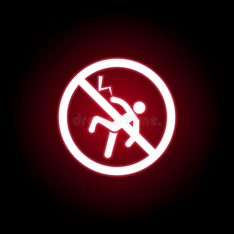 Απαγορευμένο εικονίδιο αστραπής στο κόκκινο ύφος νέου r ελεύθερη απεικόνιση δικαιώματος