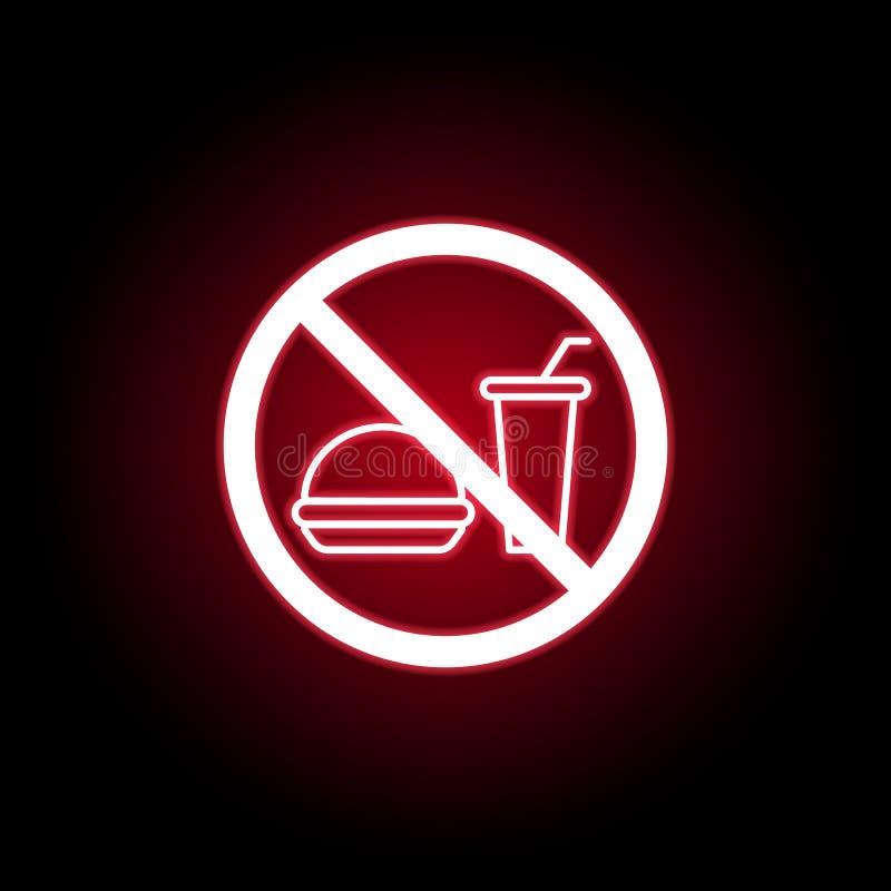 Απαγορευμένο εικονίδιο γρήγορου φαγητού στο κόκκινο ύφος νέου r διανυσματική απεικόνιση