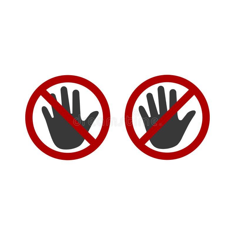 Απαγορευμένο εικονίδιο χεριών παλαμών στάσεων σημαδιών Καμία απαγόρευση εισόδων μην αγγίξτε Σύμβολο σκιαγραφιών διάστημα Απομονωμ διανυσματική απεικόνιση