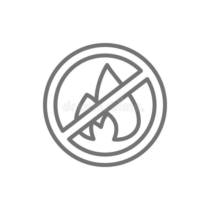 Απαγορευμένο σημάδι με την πυρκαγιά, πυρόσβεση, κανένα εικονίδιο γραμμών φωτιών διανυσματική απεικόνιση