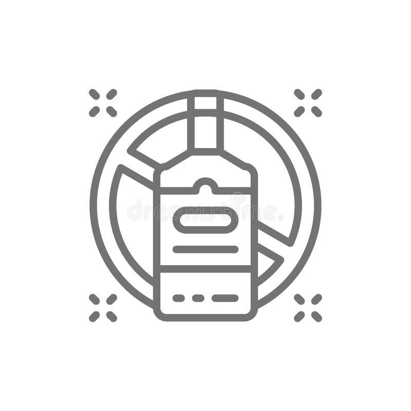 Απαγορευμένο σημάδι με το μπουκάλι οινοπνεύματος, κανένα εικονίδιο γραμμών κατανάλωσης απεικόνιση αποθεμάτων