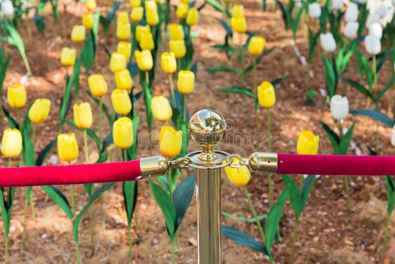 Απαγορεύστε στην πρόσβαση, τομέας λουλουδιών στοκ εικόνα