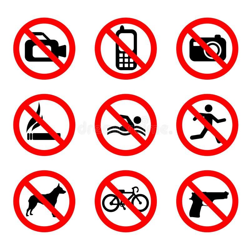 απαγορεύστε το διάνυσμα σημαδιών διανυσματική απεικόνιση