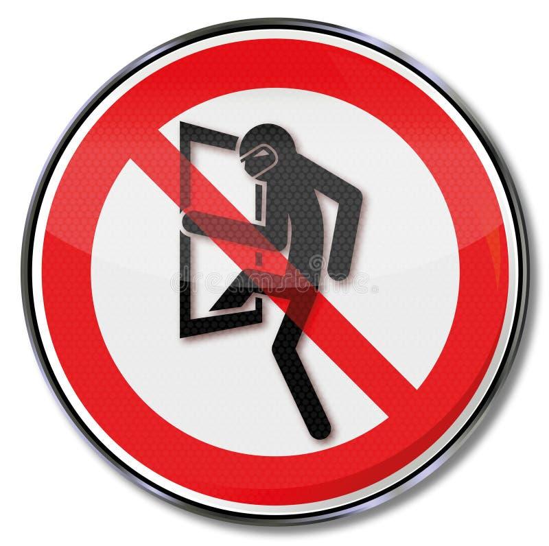 Απαγόρευση για τους διαρρήκτες διανυσματική απεικόνιση