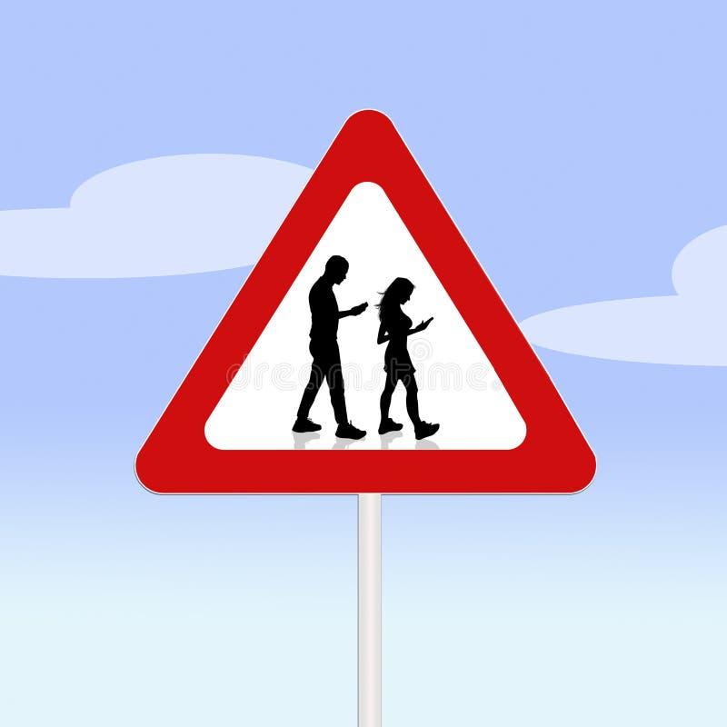 Απαγόρευση για το περπάτημα με το smartphone στο οδικό σήμα διανυσματική απεικόνιση