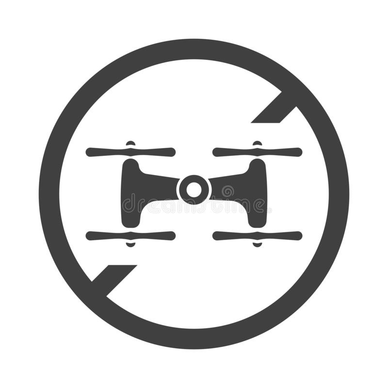 Απαγόρευση εικονιδίων στους πετώντας κηφήνες Διάνυσμα στο άσπρο υπόβαθρο ελεύθερη απεικόνιση δικαιώματος