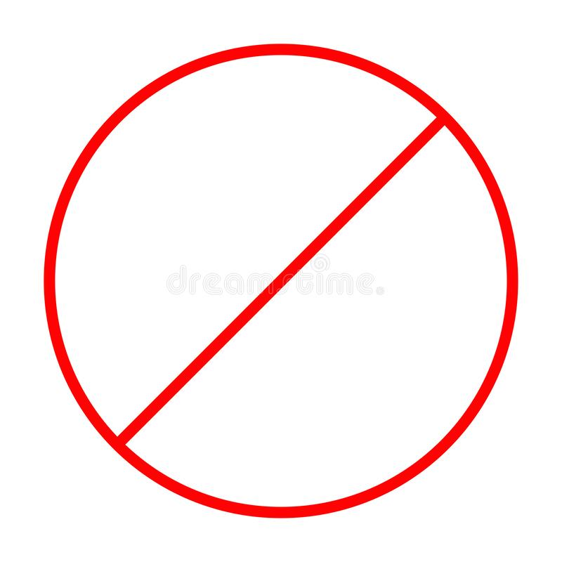 Απαγόρευση κανένα σύμβολο Κόκκινο στρογγυλό προειδοποιητικό σημάδι στάσεων Επίπεδο σχέδιο Πρότυπο Άσπρη ανασκόπηση απομονωμένος διανυσματική απεικόνιση