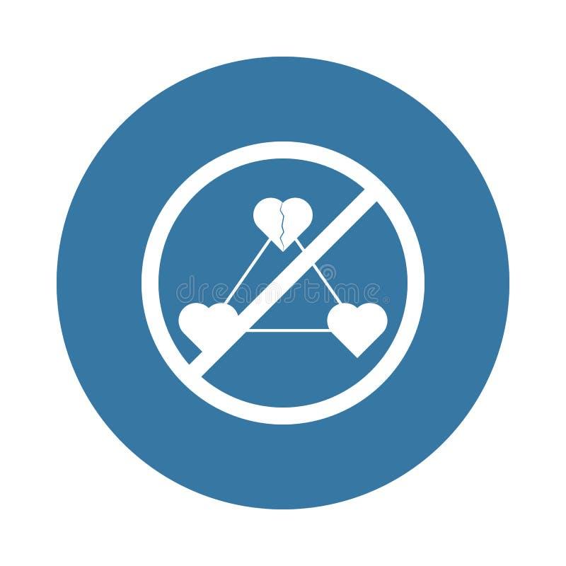 απαγόρευση στο εικονίδιο μοιχείας στο ύφος διακριτικών διανυσματική απεικόνιση