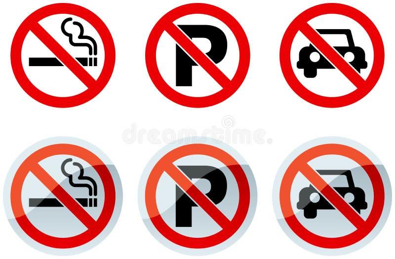 Απαγόρευση του καπνίσματος και κανένα σημάδι χώρων στάθμευσης ελεύθερη απεικόνιση δικαιώματος