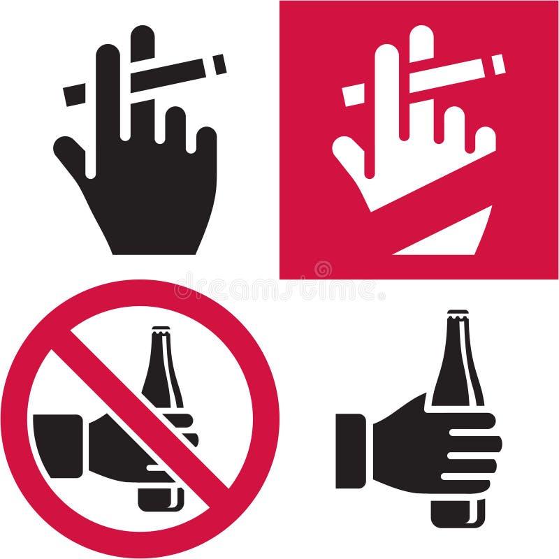 Απαγόρευση του καπνίσματος. Καμία αλκοόλη. διανυσματική απεικόνιση