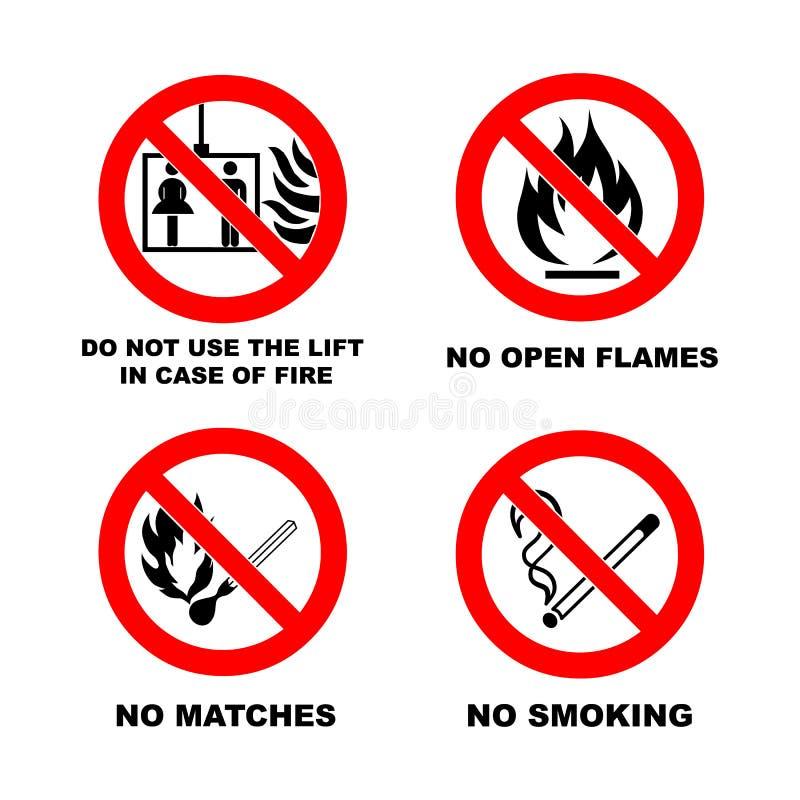 Απαγόρευση του καπνίσματος, καμία ανοικτή φλόγα, καμία αντιστοιχία, κανένας ανελκυστήρας απεικόνιση αποθεμάτων