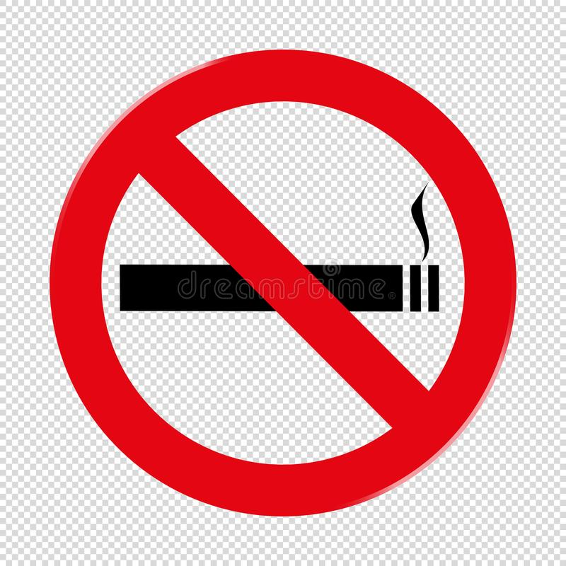 Απαγόρευση του καπνίσματος που απαγορεύει το σημάδι - διανυσματική απεικόνιση - που απομονώνεται σε διαφανή ελεύθερη απεικόνιση δικαιώματος