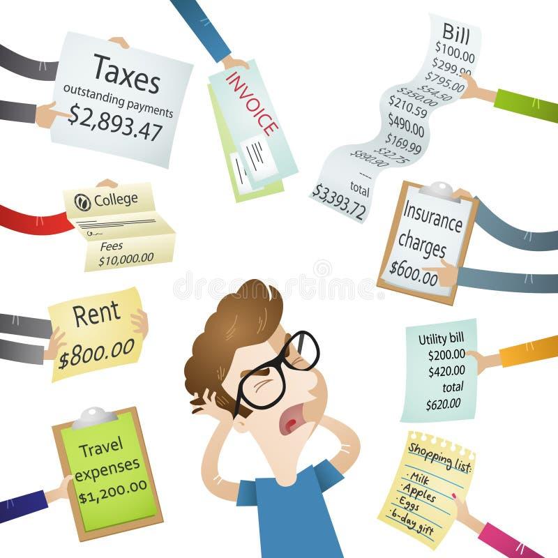 Απαιτήσεις πληρωμής πίεσης λογαριασμών ατόμων κινούμενων σχεδίων ελεύθερη απεικόνιση δικαιώματος