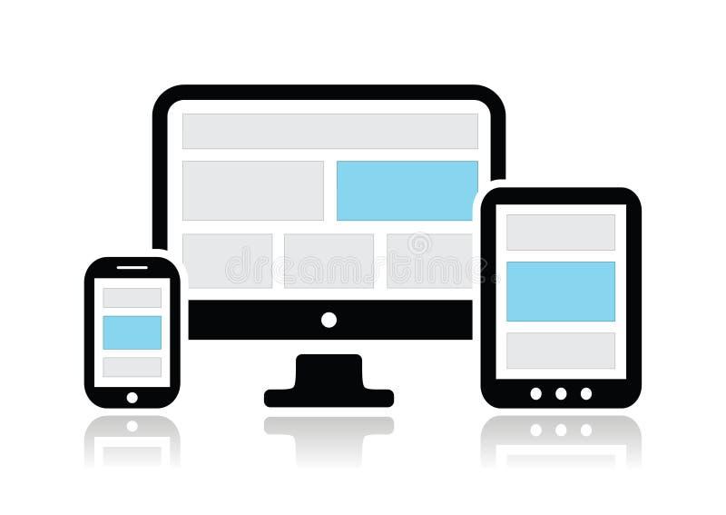 Απαντητικό σχέδιο για τη οθόνη υπολογιστή Ιστού, smartphone, εικονίδια ταμπλετών που τίθενται απεικόνιση αποθεμάτων
