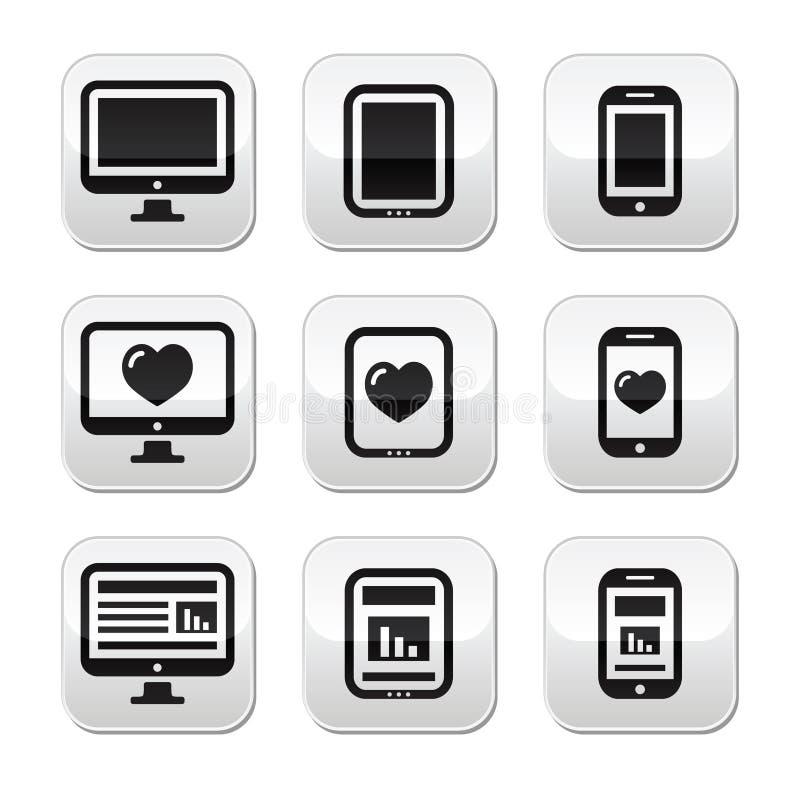 Απαντητικό σχέδιο ιστοχώρου - οθόνη υπολογιστή, κινητός, κουμπιά ταμπλετών που τίθενται ελεύθερη απεικόνιση δικαιώματος