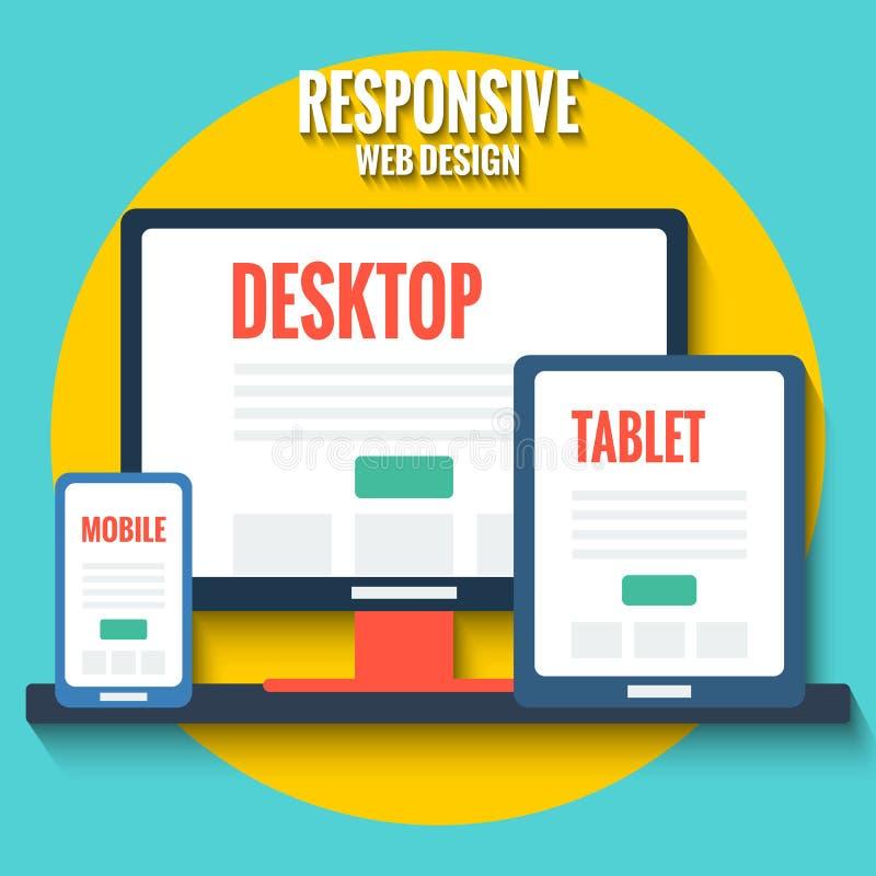 Απαντητικό σχέδιο Ιστού, επίπεδη απεικόνιση με τον υπολογιστή γραφείου, ταμπλέτα και smartphone διανυσματική απεικόνιση