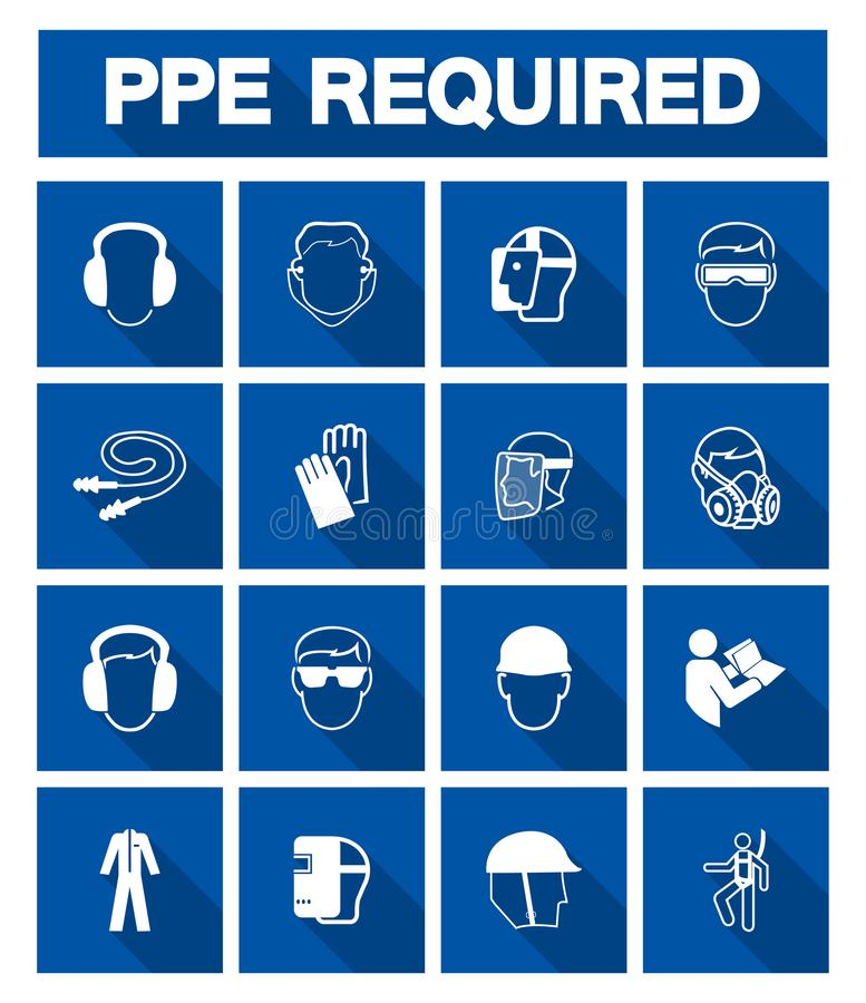 Απαραίτητος προσωπικός προστατευτικός εξοπλισμός ( PPE)  Σύμβολο, εικονίδιο ασφάλειας, διανυσματικό llustration διανυσματική απεικόνιση