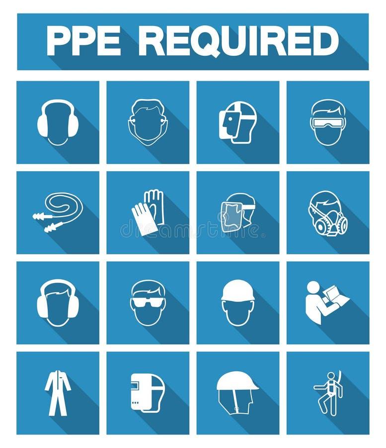 Απαραίτητος προσωπικός προστατευτικός εξοπλισμός ( PPE)  Σύμβολο, εικονίδιο ασφάλειας ελεύθερη απεικόνιση δικαιώματος