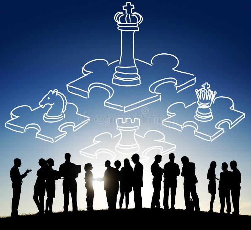 Απασχολημένη σκάκι έννοια στρατηγικής ηγεσίας τακτικής παιχνιδιών στοκ φωτογραφία