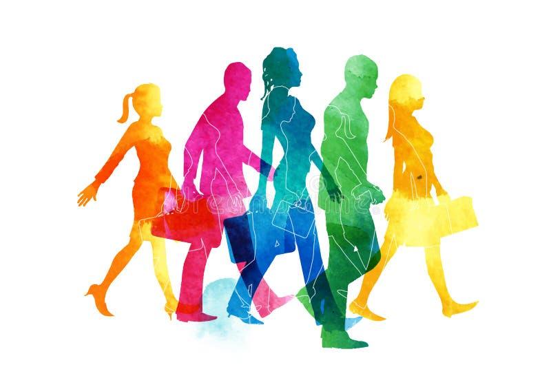 απασχολημένο περπάτημα ανθρώπων ελεύθερη απεικόνιση δικαιώματος