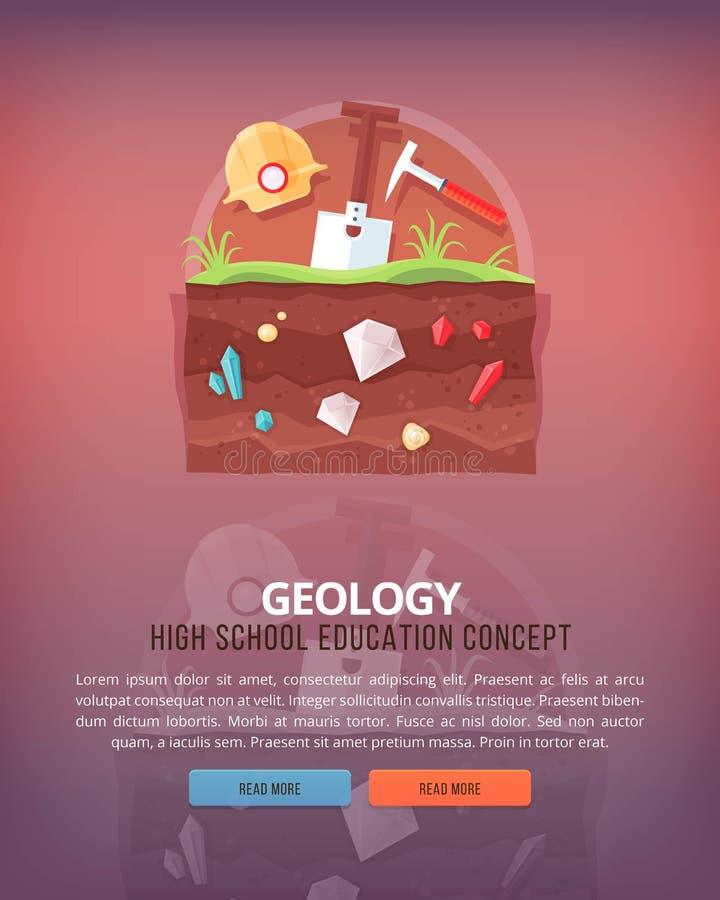 Απεικονίσεις έννοιας εκπαίδευσης και επιστήμης γεωλογία Επιστήμη της δομής γης και πλανητών Γνώση athmospherical απεικόνιση αποθεμάτων