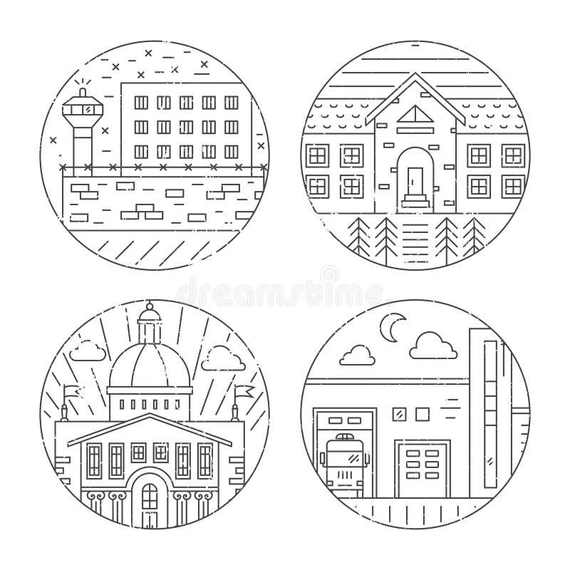 Απεικονίσεις αρχιτεκτονικής πόλεων ελεύθερη απεικόνιση δικαιώματος