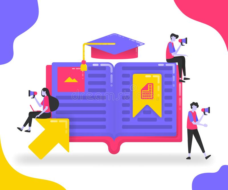 Απεικονίσεις βιβλίων για την εκπαίδευση Σπουδαστές που μελετούν μεταξύ των βιβλίων ή των λεξικών Σελιδοδείκτης στις σημαντικές σε απεικόνιση αποθεμάτων