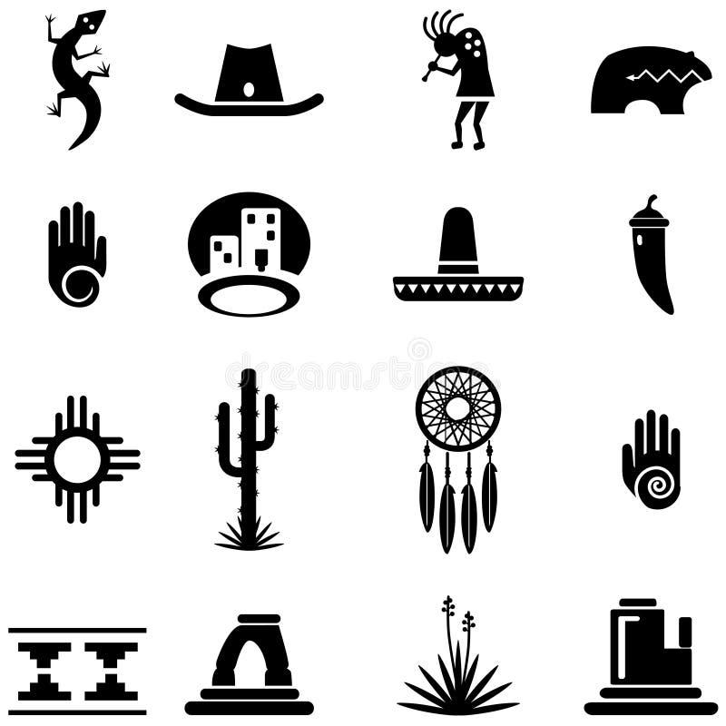Απεικονίσεις εικονιδίων νοτιοδυτικών ερήμων απεικόνιση αποθεμάτων