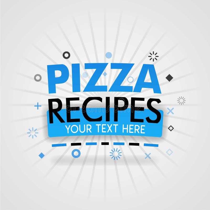 Απεικονίσεις κάλυψης για τις εύγευστες συνταγές πιτσών με τις φτηνές συνταγές, τις συνταγές δαπανών και οικογενειών διανυσματική απεικόνιση